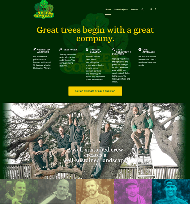 Trees Company website homepage