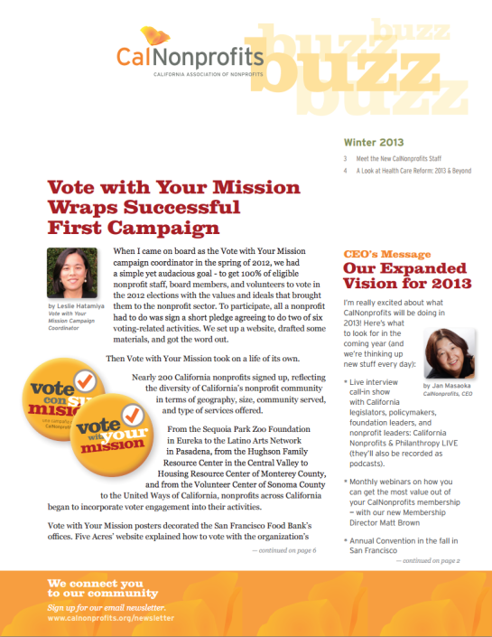 CalNonprofits newsletter