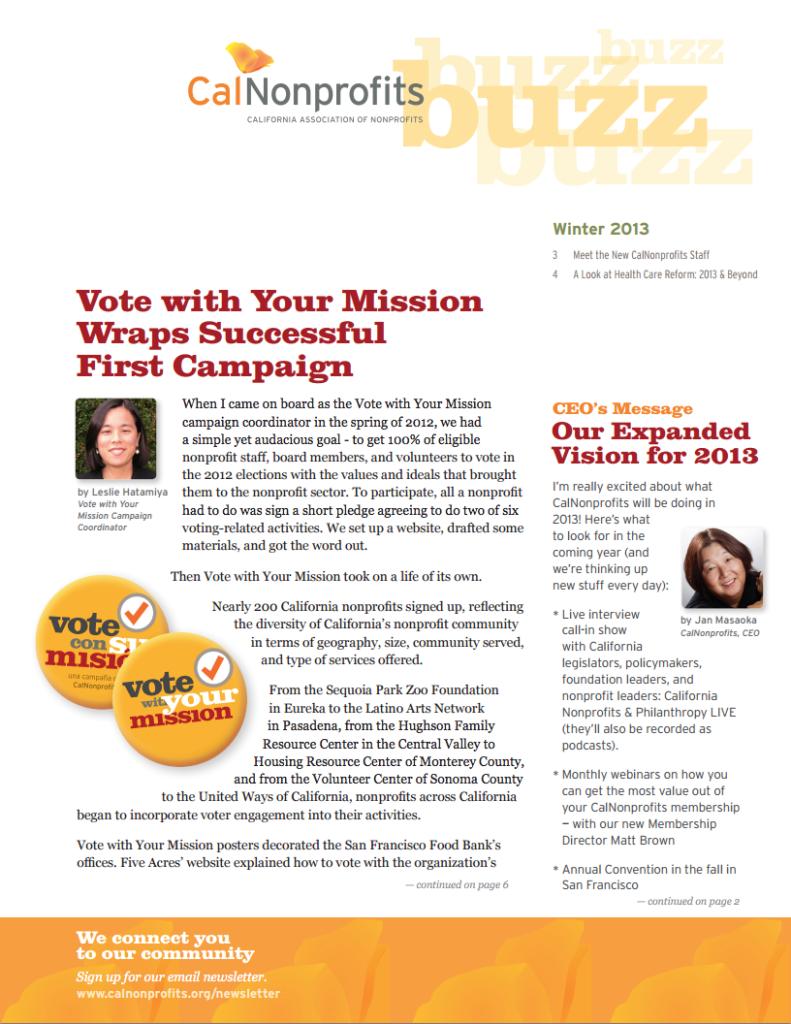 CalNonprofits newsletter