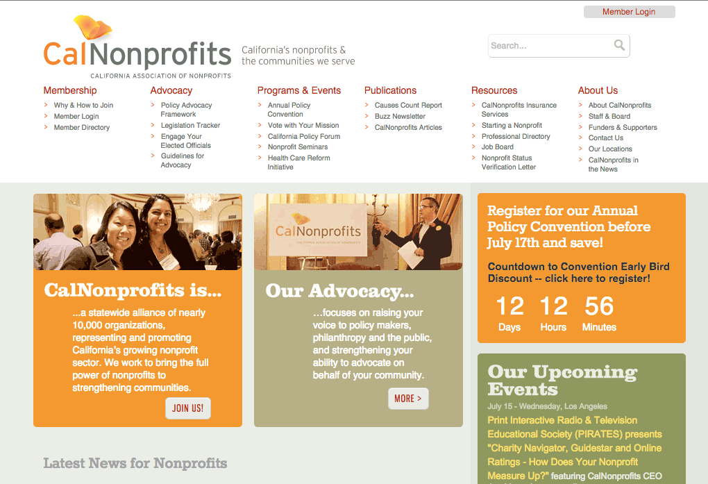 CalNonprofits homepage