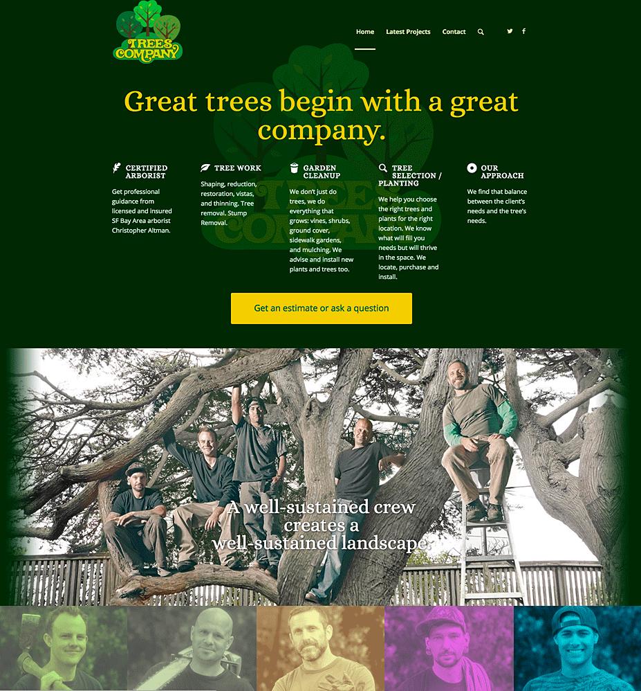 Trees Company website homepage